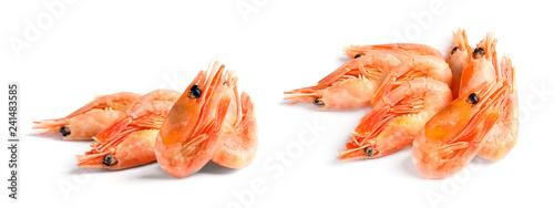 Set of fresh shrimps on white background