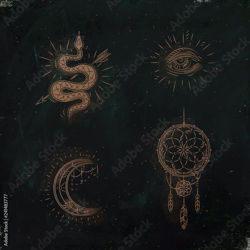 Magic and mystic signs dreamcatcher green Wall mural