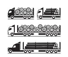 Trucks For  Transport Of Wooden Logs - Vector Illustration
