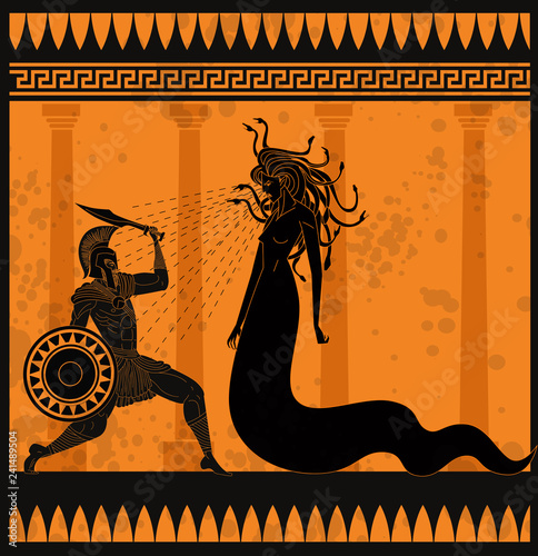 Photo orange and black pottery painting of perseus fighting the medusa