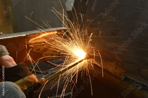 Fotografie, Obraz  Welding welding workers strike out sparks