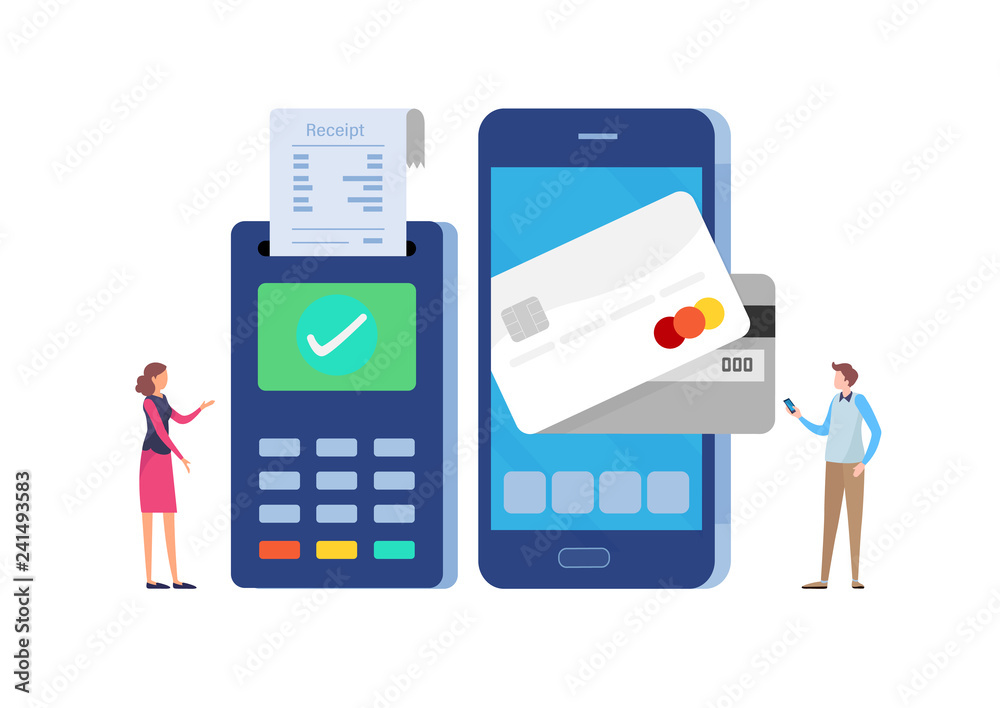 Fototapeta Online payment with mobile banking application and Paid via credit card.