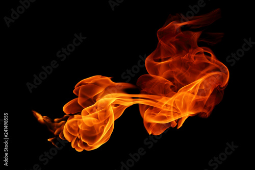 Poster Fire / Flame Fire flames isolated on black background.