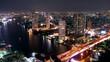Timelapse Chaopraya river view, Bangkok, Thailand. Night scene.