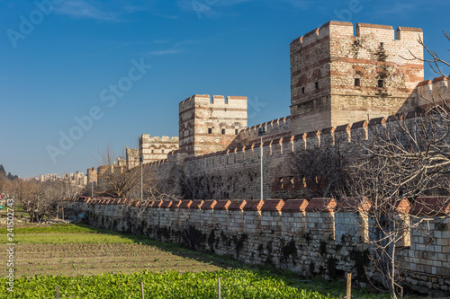 Vegetable gardens in, what was once, the moat surrounding the walls to the old city of Constantinople Fototapet