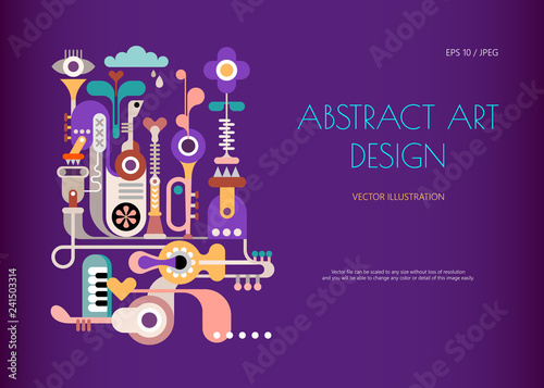 Art abstrait Music Jukebox. Abstract art design isolated on a dark violet background. Vector poster design with abstract decorative composition and place for text.