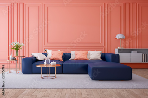 Luxury modern interior of living room ,Living coral decor ...