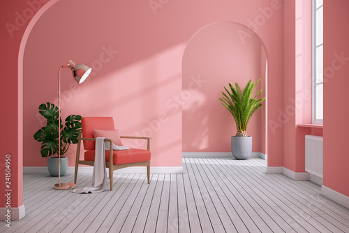 Photo  Modern mid century and minimalist interior of living room ,Living coral decor co
