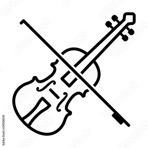 Play violin with bow - string musical instrument line art vector icon for music Wallpaper Mural