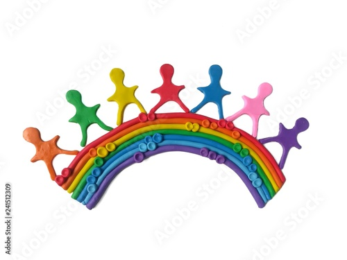Deurstickers Regenboog Lovely children standing on rainbow made from multicolored plasticine clay on white background, variety color dough, No matter how different colorful each other, it can create beauty natural