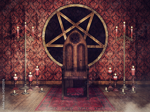 Photo  Vintage throne room with candles. 3D render.