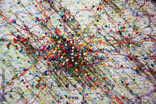 Foto  pins on the Prague map