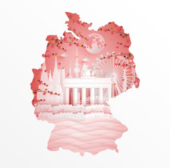 Autumn in Germany with maple leave style in season concept for travel postcard, poster, tour advertising of world famous landmarks in paper cut style. Vector