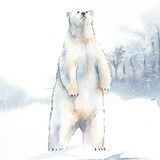Hand-drawn polar bear in the snow watercolor style vector - 241517509