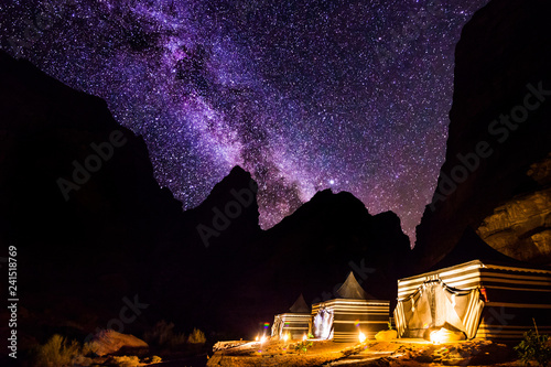 Wadi Rum desert landscape at night, Jordan