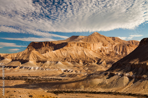 The famous Negev desert in Israel at sunset