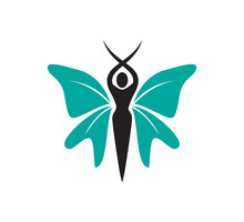 The Majestic And Beauty Woman With Butterfly Wings Vector Logo Design