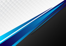 Template Corporate Concept Blue Black Grey And White Contrast Background.