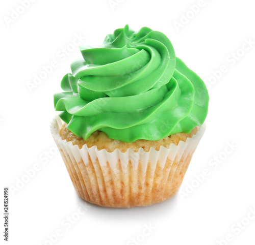 Photo  Tasty cupcake on white background