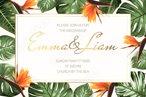 Fototapeta Wedding Event Invitation Rsvp Card Template Horizontal Rectangular Border Frame With Green Monstera Philodendron Split Leaves And Bright