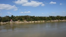 View Landscape Of Canyon And Big Stone In Mekong River At Wat Hin Mak Peng Temple In Nong Khai, Thailand