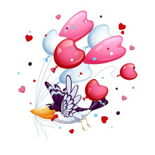 Funny Bird With A Tie Butterfly Flies With A Bunch Of Balloons - Hearts. Valentine's Day.