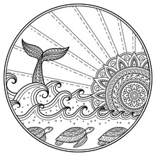 Whale Diving Into Sea Against The Sunset. Ocean Landscape With Waves, Mandala In Form Of Sun, Fish Tail. Coloring Book Page For Children And Adults.