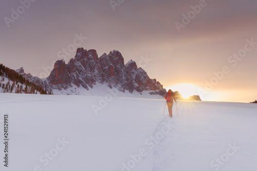 Photo  Geisler im Sonnenuntergang, Abstieg vom Zendleser Kofel (Col di Poma), Funes, To