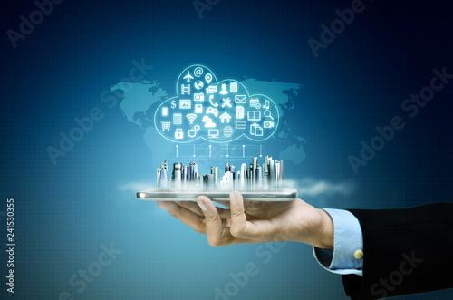 Fototapeta internet cloud server application and hosting on virtual network conceptual image obraz
