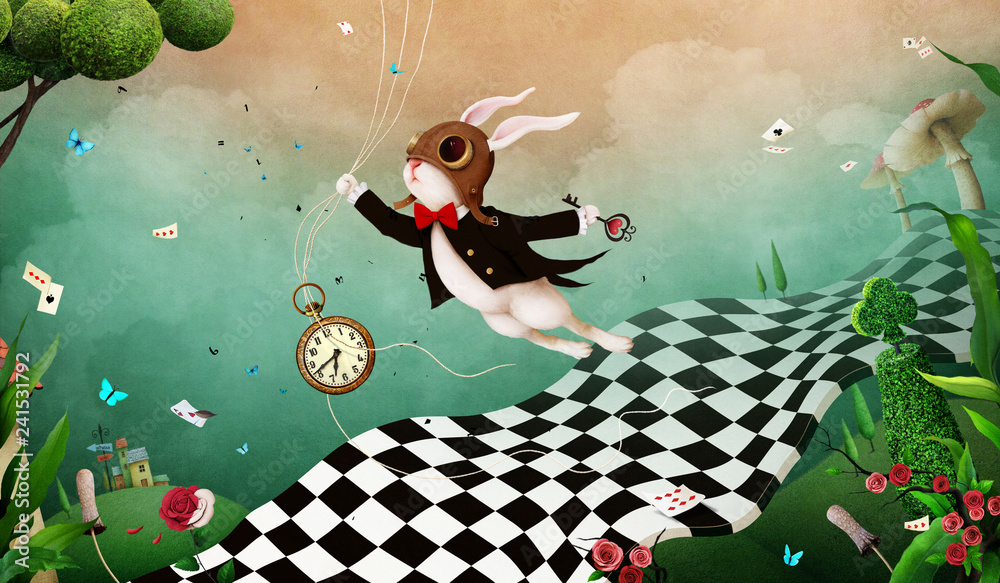 Fototapeta Magical fantasy background Wonderland with  Rabbit and  chess road.