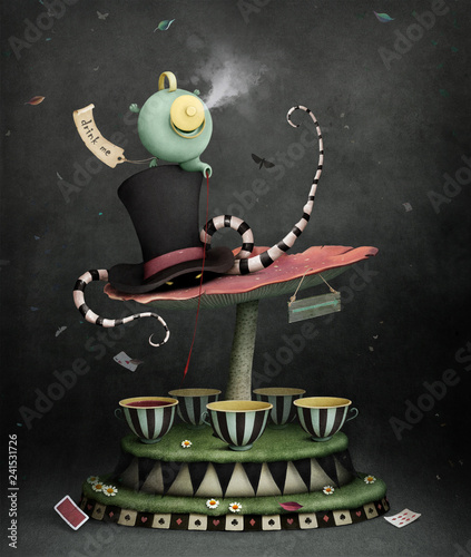 Fototapeta kontynenty   conceptual-illustration-or-poster-with-magic-carousel-for-tea-party-wonderland