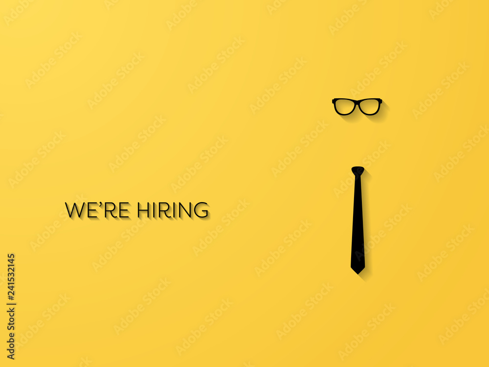 Fototapeta Hiring and recruitment poster or banner vector concept in mimimalist style with tie and glassses. Symbol of vacancies, job offers, career development, job advertisement.