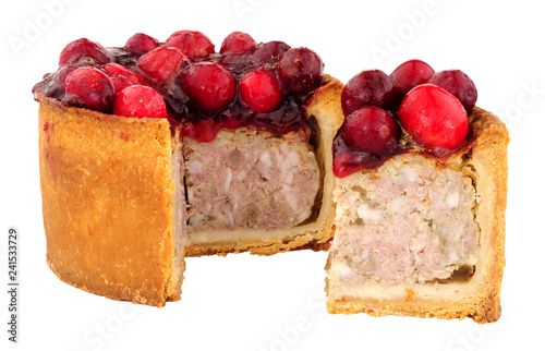 Foto op Aluminium Buffet, Bar Pork pie topped with cranberries isolated on a white background