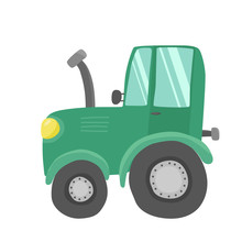 Vector Illustration, Cute Green Tractor For Children Prints, T-shirts And Other Designs. Farm Concept
