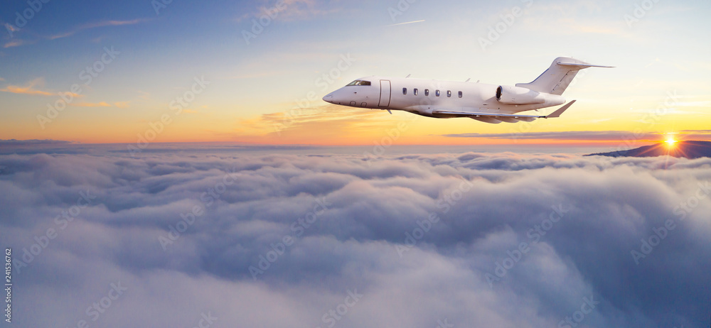 Fototapety, obrazy: Luxury private jetliner flying above clouds.