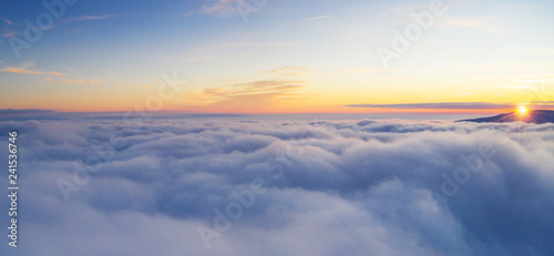 Spoed Fotobehang Luchtfoto Beautiful sunrise cloudy sky from aerial view