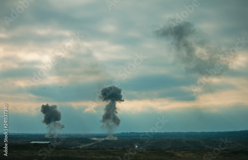 Fotomural Two air force jets bombing targets at military trainings
