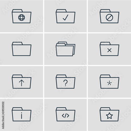 Fotografía  Vector illustration of 12 folder icons line style