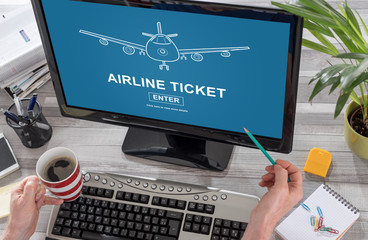 Airline ticket concept on a computer