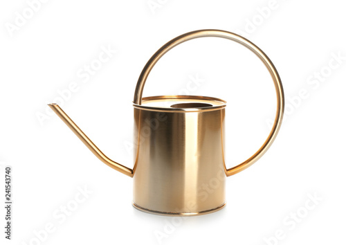 Obraz na płótnie Golden watering can on white background