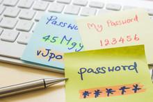 Online Password Management With Keyborard, Notes, Pen.