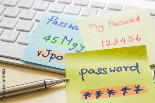 Fotomural Online password management with keyborard, notes, pen.