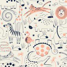 Wild Savannah Animal Pattern With SNAKE, CROCODILE, TURTLE, ELEPHANT, HIPPO, RHINO, LION, LEOPARD, GIRAFFE, ZEBRA, FLAMINGO, Safari Seamless Background, Summer Kids And Nursery Fabric Textile Print