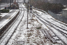Railway Tracks Covered In Wint...