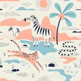 park dzikiej sawanny z wzorem zebry, lamparta i węża, bezszwowe tło safari, letnie dzieci i tekstylia z nadrukiem dziecięcym - 241549562