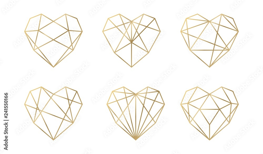 Fototapety, obrazy: Luxury vector collection of polygonal hearts. Invitation template. Set geometric shape.