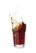 Glass of tasty soda with splash on white background