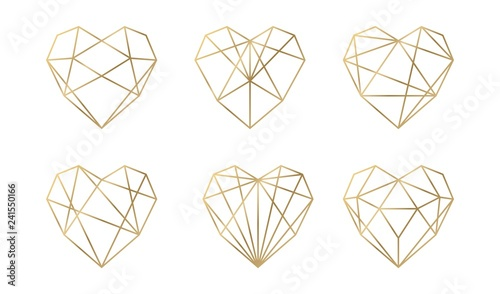Luxury vector collection of polygonal hearts Obraz na płótnie