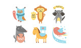 Fototapeta Fototapety na ścianę do pokoju dziecięcego - Cute animals with banners set, owl, raccoon, monkey, wolf, horse, bird holding signboards with text, design elelment for greeting card, print, poster, banner vector Illustration