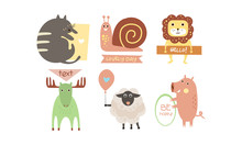 Lovely Animals With Banners Set, Cute Cat, Snail, Lion, Elk, Sheep, Pig Holding Signboards With Text, Design Elelment For Greeting Card, Print, Poster, Banner Vector Illustration